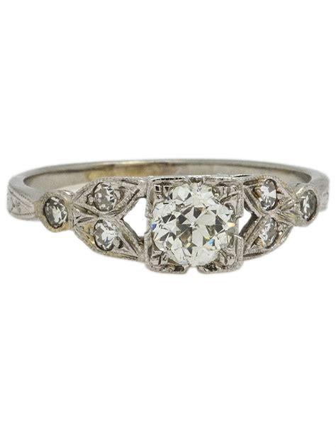vintage engagement ring 18k wg 0 48ct old european cut i