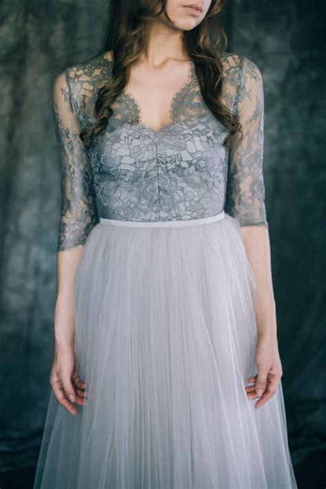Gray Wedding Dress Boho Wedding Dress Non Traditional