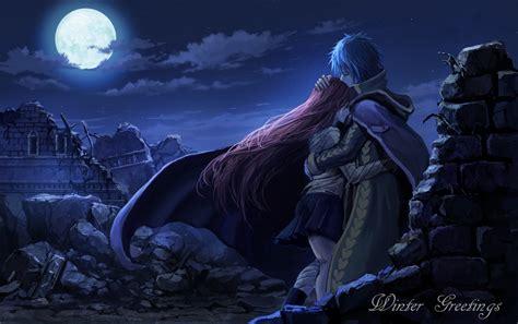 blue blue hair cape clouds erza scarlet fairy tail hug