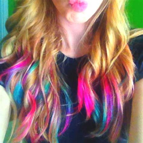 rainbow tip hair        hair