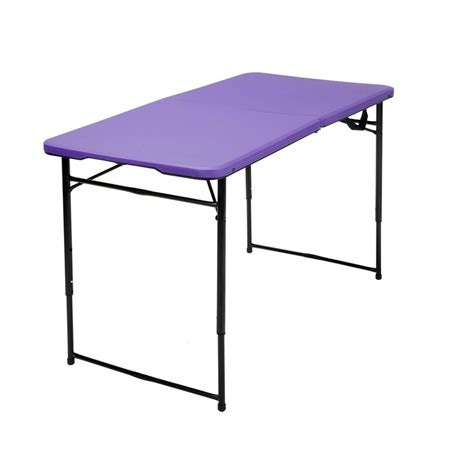 lavender table l 4 height adjustable folding table in purple 14402pnb1e