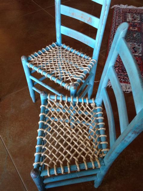 chalk paint  rope seat bottoms   pleased