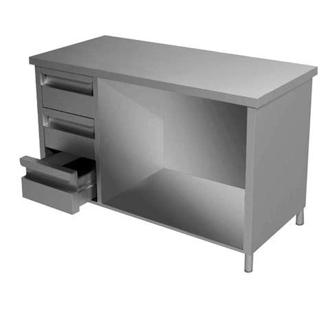 tavoli con cassetti tavolo acciaio inox aperto con 3 cassetti a sinistra