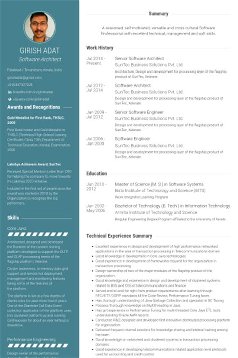 Senior Architectural Designer Resume by Software Architekt Cv Beispiel Visualcv Lebenslauf Muster Datenbank