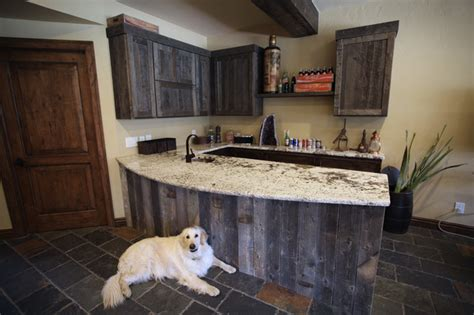 1 Bedroom Basement by Reclaimed Wood Bar Traditional Kitchen Denver By