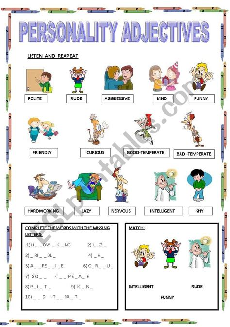 personality adjectives esl worksheet by maestralidia