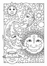 Coloring Moon Pages Printable Fantasy sketch template