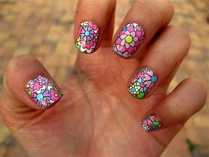 Nail Flower Designs Colorful Flowers Floral Nails