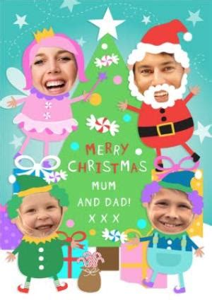 tree and festive characters personalised photo upload merry christmas card moonpig