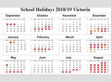 Free Victoria 2019 School Holidays Calendar Templates