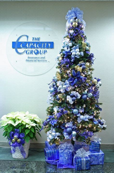 blue christmas tree    poinsettias  mesh