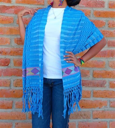 rj00280 Rebozo artesanal bordado en telar azul fabricante ...
