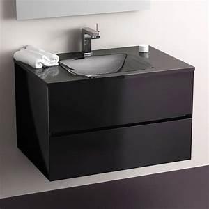 meuble salle de bain noir 75 cm 2 tiroirs plan verre glass With meuble 75 cm largeur
