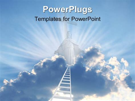powerpoint template white tall ladder reaching heaven