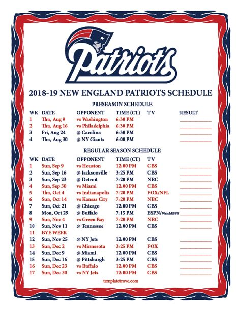 printable england patriots schedule