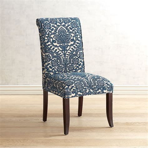 angela navy blue trellis dining chair dining chairs