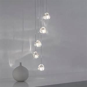 Silver crystal five drop pendant light