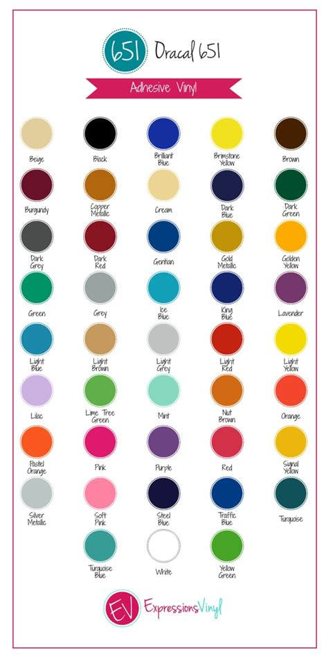 oracal 651 color chart oracal 651 12 quot x5yd permanent outdoor vinyl roll