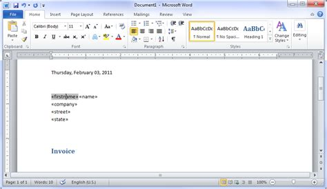 create email templates with word creating mail merge templates in ms word 2010