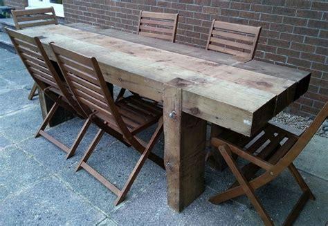 garden table   long  railway sleepers