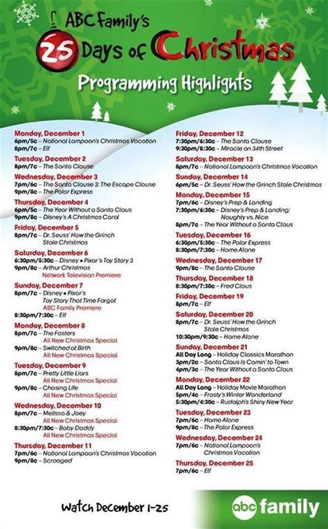 Abc Family 13 Nights Of Halloween Schedule by Tune In To Abc Family S Quot 25 Days Of Christmas Quot Programming