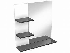 Miroir Rangement Salle De Bain : miroir de salle de bain soramena coloris gris chez conforama ~ Teatrodelosmanantiales.com Idées de Décoration