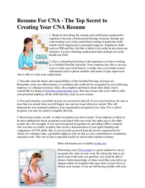 resume for cna the top secret to creating your cna resume