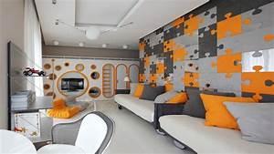 Wall decor ideas for bedroom, orange and grey bedroom grey