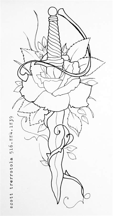 Rose n Dagger Tattoo Sample | Tattoo design drawings
