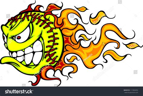 Cartoon Vector Image Flaming Fast Pitch Stock Vector