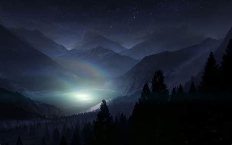 Lake Night Cg Stars Trees Mountains Landscape Wallpaper