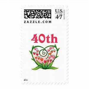 Floral 40th wedding anniversary gifts postage zazzle for Gift for 40th wedding anniversary