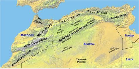 africa mountain ranges map ben bel alia algeria