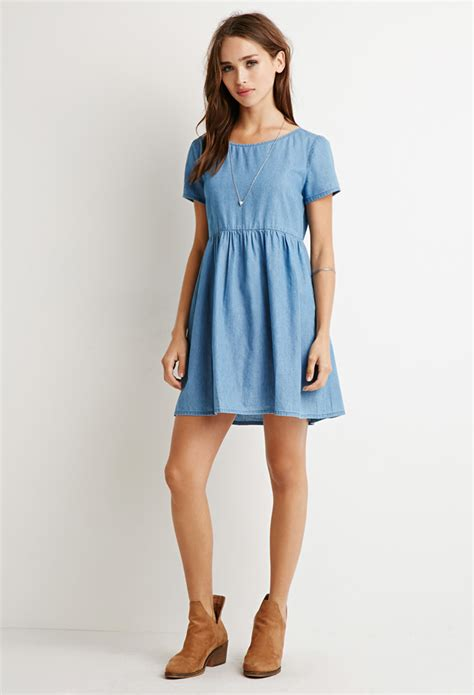 babydoll dress lyst forever 21 chambray babydoll dress in blue