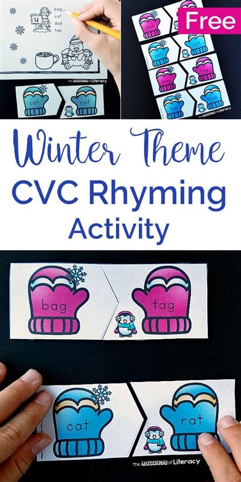 winter rhyming cvc words activity  literacy centers