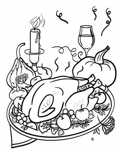 Coloring Dinner Thanksgiving Pages Printable Pdf Diner