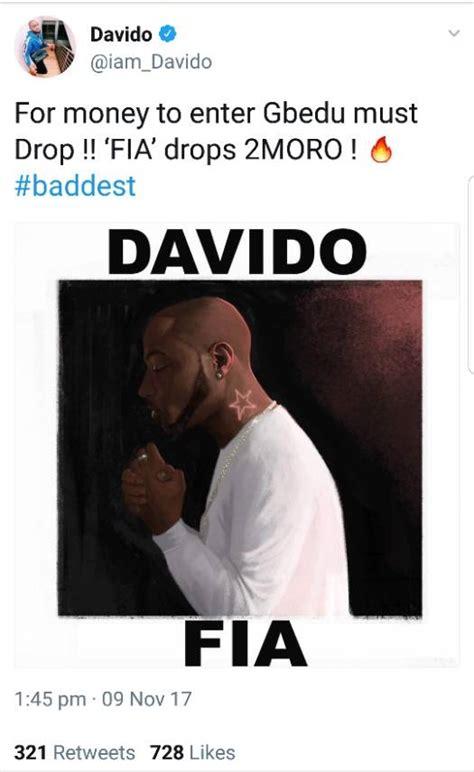 davido drops  song fia tomorrow
