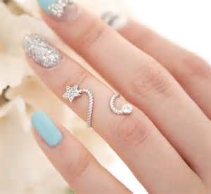 Pretty turquoise and silver nail art ring pictures photos