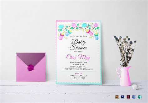editable baby shower invitation design template  psd