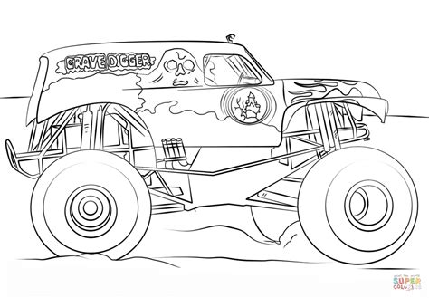 Grave Digger Monster Truck Coloring Page Free Printable