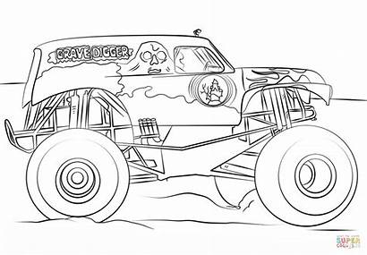 Coloring Digger Grave Monster Truck Pages Printable