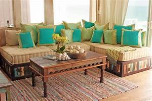 Moroccan style sofa in reclaimed wood eclectic living for Moroccan sofa bed