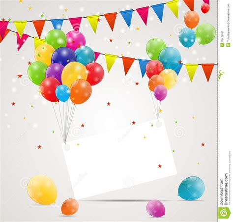 color glossy balloons birthday card background stock image
