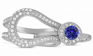 unique and luxurious 2 carat designer sapphire and With sapphire engagement ring and wedding band set