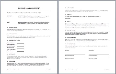 housing loan contract template word templates