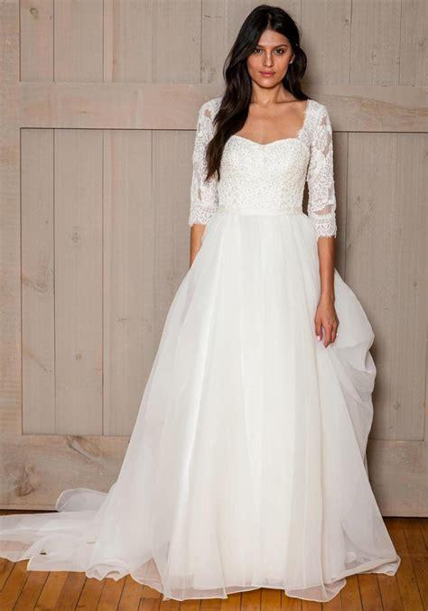 2016 Modest Wedding Dresses Lace Bodice Tulle Skirt 3/4 ...