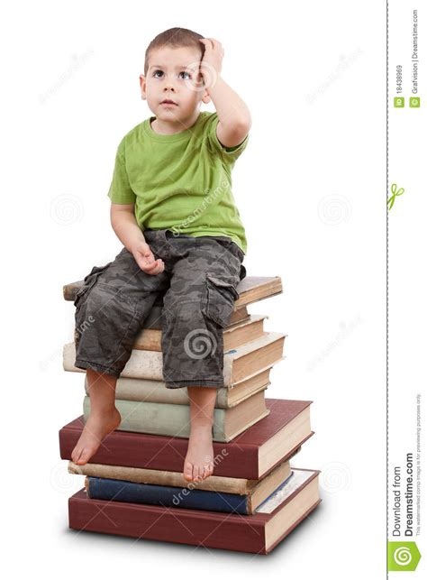 Sitting On The by Child Sitting On Books Royalty Free Stock Images Image