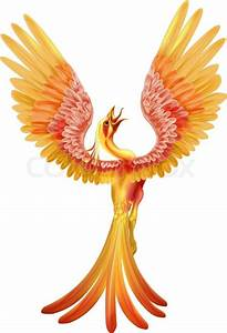 A phoenix bird rising from the ashes with wings spread out ...