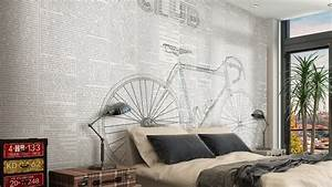 writing vinyl wallpaper bike club by glamora With balkon teppich mit tapete vintage