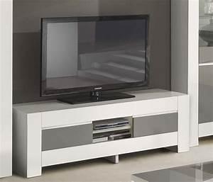 Meuble Gris Laqué : meuble tv gris et blanc laqu italien qualit haut de gamme ~ Nature-et-papiers.com Idées de Décoration